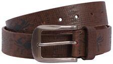 Mens Black Brown Scorpio Textured Genuine Leather Buckle Belts S-3XL