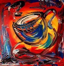 COFFEE MODERN ART ORIGINAL  GALLERY ABSTRACT   CANVAS PDERGWERG