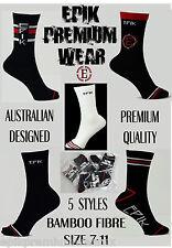 Mens 5 Designs EPIK PREMIUM WEAR bamboo socks size 7 - 11