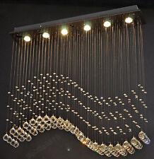 New Modern Wave Crystal Pendant Light Ceiling Lamp Rain Drop Chandelier Lighting