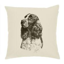 AD-SS77-CPW Springer Spaniel Dog Soft Velvet Feel Cushion Cover With Inner Pill