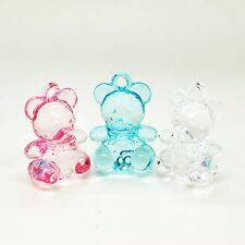 6 x large teddy bear charm acrylique transparent bébé bijoux clips de tétine making