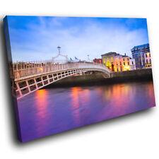 SC504 Colourful Dublin Bridge Landscape Canvas Wall Art Large Picture Prints