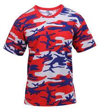 Mens USA Red White Blue Patriotic Camo T-shirt Camouflage Shirt Tee Rothco 3192