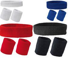 Eurotshirts Set of Unisex Sports Sweatband Head Wrist Bands Gym Tennis Badminton