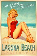 LAGUNA BEACH California -Surf Sand Sea Poster Pacific Pin Up Girl Art Print 241