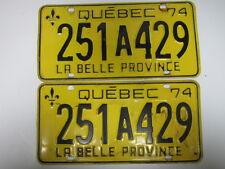 1974 Quebec La Belle Province License Plate Pair 251A429