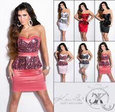 Sexy Dress Cocktail Schößchen Kleid Party Minikleid Abendkleid Pailetten