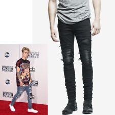Men Jeans Wash Stretch Destroyed Ripped Design Hip Hop Ankle Skinny Jeans Pants