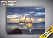 Poster Tchin-Tchin Landscape Sunset Romantique Art