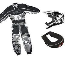 Kids Wulfsport MX Motocross Set Helmet Neck Brace Black Camo Overall Kit #O5