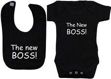 New Boss Baby Grow/Bodysuit/Romper/T-Shirt & Feeding Bib Newborn-12M Boy Girl