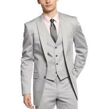 Mens Calvin Klein Solid Light Gray Cotton Slim Fit Flat Front Dress Pants