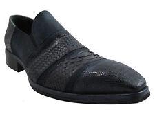 Jo Ghost 2830 Men's Italian Dressy Suede/Python/Lizard Shoes in Navy