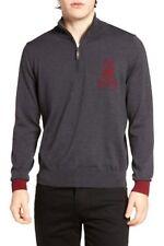 Psycho Bunny Men's Charcoal Gray Big Bunny Merino Wool 1/2 Zip Sweater