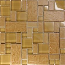 Brown Stone Glass Blend Pattern Mosaic Tile Kitchen Backsplash Spa Faucet