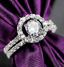 18K WHITE GOLD GF VINTAGE HALO LAB DIAMOND ENGAGEMENT WEDDING CRYSTAL RING SET