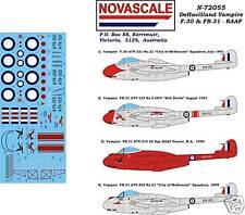 RAAF DeHav.Vampire F30 & FB31 Decals 1/72 Scale N72055