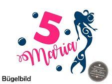 Bügelbild Geburtstag Mermaid Meerjungfrau   XXL  Flex Glitzer Flock