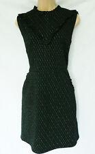 BNWT NEXT green gold Vintage look frill bib high neck tunic shift dress stretch