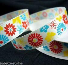 RUBAN SATIN ** 15 mm ** Fleurs Soleil multicolores Fond Blanc - Vendu au mètre