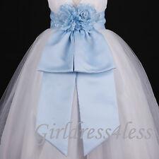 Sky Blue Sash Wedding Flower Girl Dress Bow Waistband 12M 18M 24M 2 4 6 8 10 12