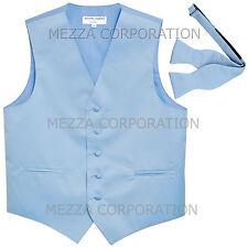 New Men's Vesuvio Napoli Tuxedo Vest Self-tie Bowtie prom party Light Blue