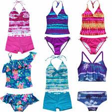 Girls Kids Flower Swimming Costume Swimsuit Bikini Tankini Two Piece Age 3 - 16