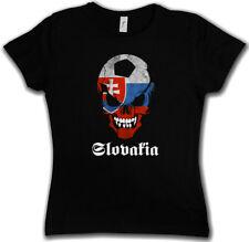 BLACK SLOWAKIA FOOTBALL SOCCER SKULL FLAG DAMEN T-SHIRT Fan Hooligan Slowakai