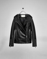2016 ZARA LEATHER STUDIO BIKER MOTO JACKET REAL GENUINE leather 3138/041