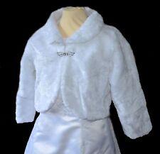 Jacke Webpelz Bolero weiß Gr. 122 - 164 zum Kleid Kommunionkleid Taufkleid neu