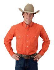 Roper Western Shirt Mens L/S Solid Button Orange 03-001-0365-1070 OR