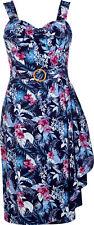 Collectif TALLULAH Maui Hibiscus Fifties Tiki Sarong Dress / KLEID Bl Rockabilly