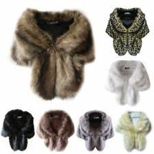 Womens Winter Warm Faux Fur Shawl Stole Wrap Bridal Wedding Shaggy Scarf Outwear