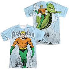 Authentic DC Comics Aquaman Classic Aqua Seahorse Sublimation Front Back T-shirt