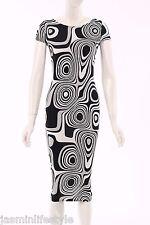 New Celebrity Style Stretchy BodyCon Monochrome Print Midi Bridal Party Dress