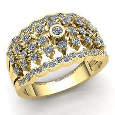 Natural 5carat Round Cut Diamond Ladies ThreeRow Fancy Wedding Band 14K Gold