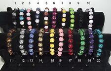 LOT REVENDEUR 100 BRACELET SHAMBALLA STRASS disco neuf 9 perles
