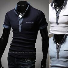 New Fashion Mens Modern Stylish Modern Polo Pique Collar Casual T-Shirts W288