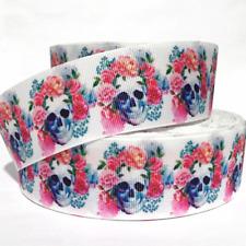 "Grosgrain Ribbon 7/8"" & 1.5"" Skulls Flowers Halloween Printed Usa Seller"