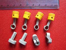 LEGO TECHNIC 4 Yellow Piston Head & Connector Rod + Crankshaft for Engine Block