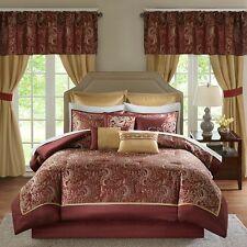 Elegant Jacquard Red Gold Faux Silk Paisley Comforter Window Curtains 24 pcs Set