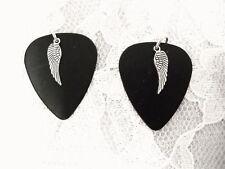 JET BLACK GUITAR PICK PICKS w ANGEL WING CHARM EARRINGS