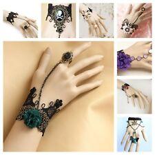 Handmade Lace Jewelry Black Bracelet Ring Wrist Wrap Gothic Halloween Adjustable