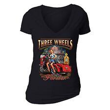 Three Wheels Motorcycle Tshirt Vehicle USA Blonde American Girl T-shirt Black