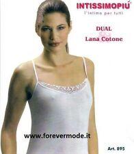 3 Canotte donna Intissimopiu spalla stretta in lana cotone e bordo pizzo art 895