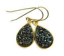 14k Gold Druzy Earrings Peacock Green Teardrops Bezel Set Drusy Sterling  Drops