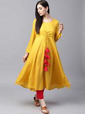 Mustard Yellow Solid Layered Anarkali Indian Party Wear Kurta Kurti Tunic Dress
