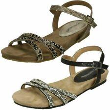 Ladies Leather Collection Flat Diamante Sandals