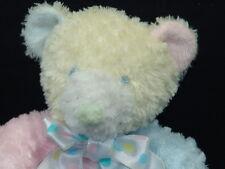 POLKADOT BOWTIE PINK YELLOW GREEN BLUE FIRST MAIN BABY RATTLE PLUSH TEDDY BEAR